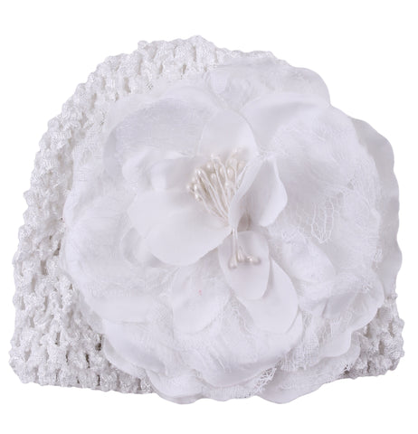 White Peony flower crochet baby cap (0-6 months)