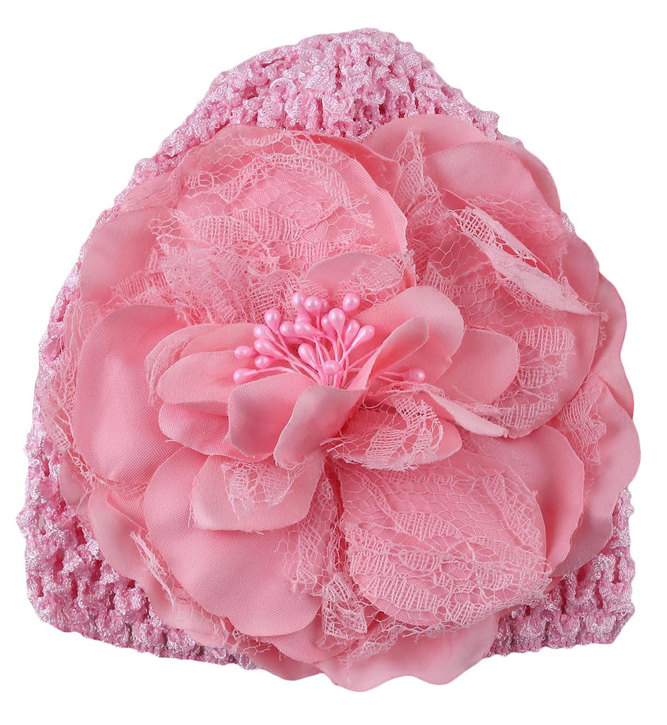 Baby Pink Peony flower crochet baby cap (0-6 months)