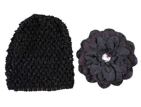 Crochet cap with clip on flower - Black