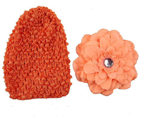 Crochet cap with clip on flower - Orange