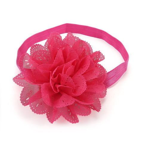 Cut Work Big Flower Headband - Dark Pink