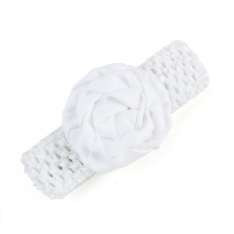 Rolled up Rose on crochet - White