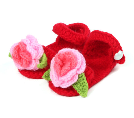 crochet red floral shoes