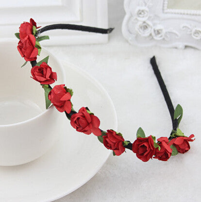 Red Roses flower garland hairband