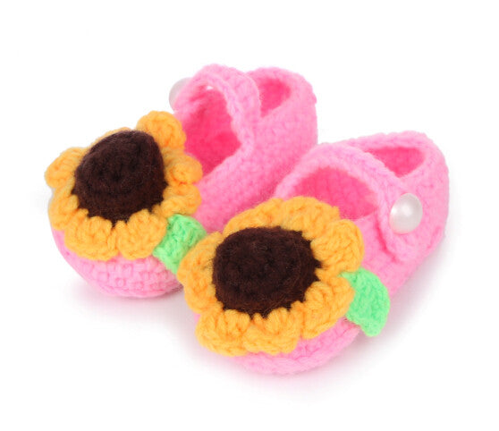Crochet pink floral shoes