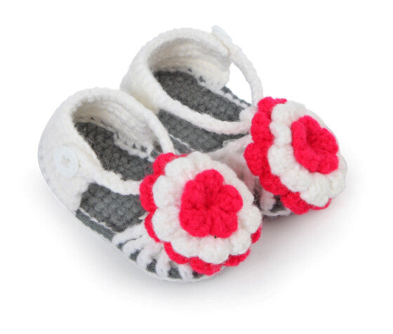cfdf9ed10 Check COD Availability. Check. Flower adorned grey white crochet sandals