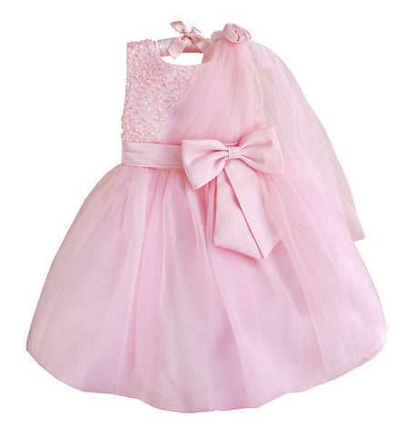 Princess Bowknot Sequined Dress Baby Pink