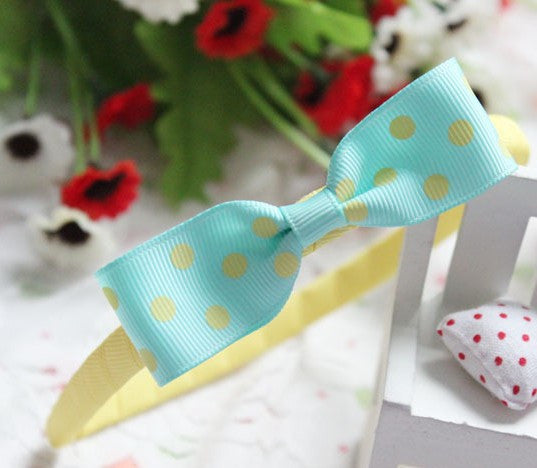 Candy Yellow Grograin polka bow hairband