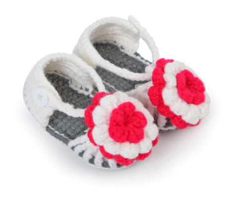 Flower adorned grey white crochet sandals