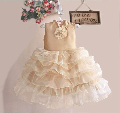 Elegant collared party wear dress in Golden