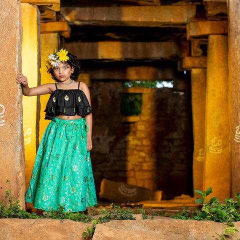 Girls Ethnic wear set - Black & green