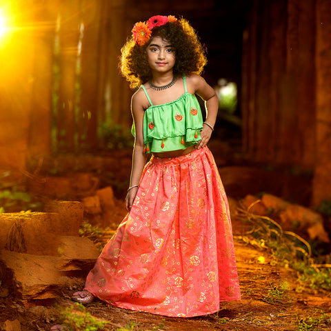 Girls Ethnic wear set - Green & Dark Coral