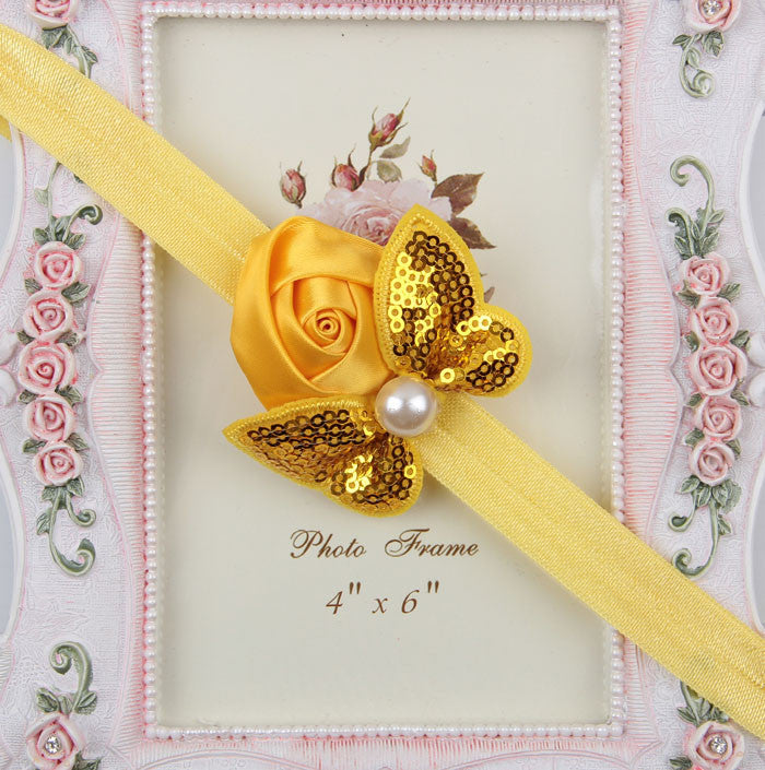 Sequin Bow with Rose Flower Headband - Yellow
