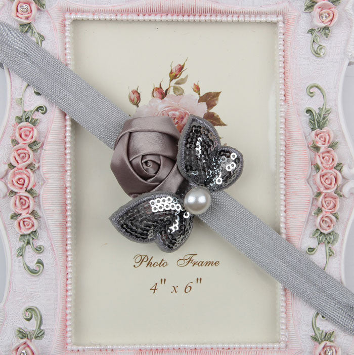Sequin Bow with Rose Flower Headband - Silver grey