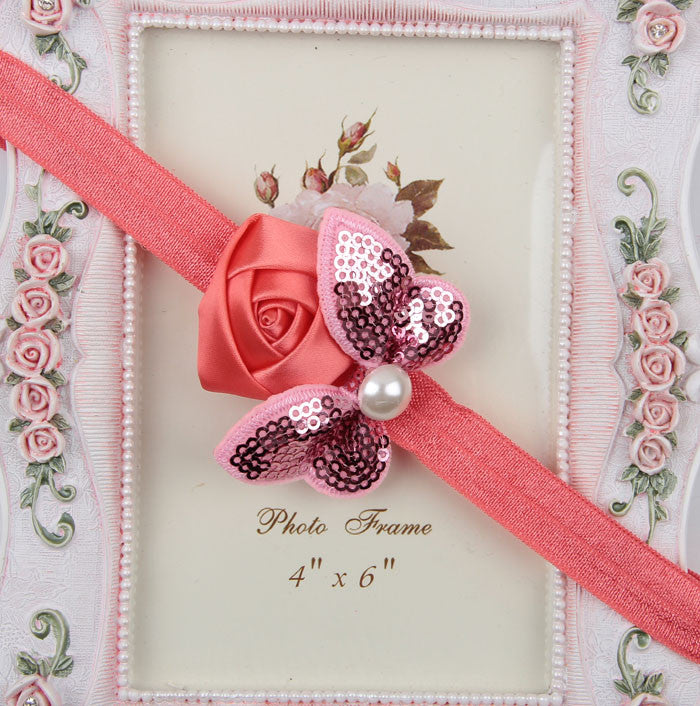 Sequin Bow with Rose Flower Headband - Blush Pink