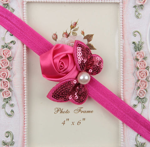 Sequin Bow with Rose Flower Headband - Hot Pink