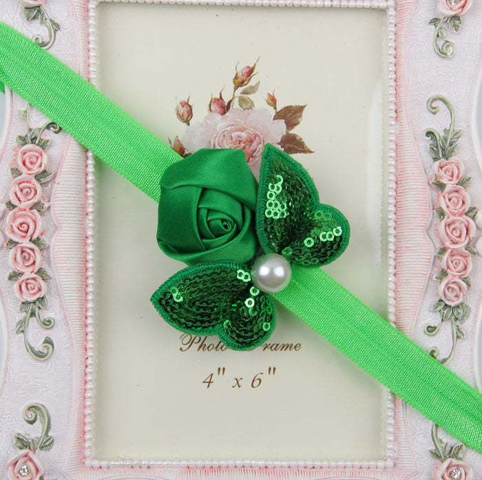 Sequin Bow with Rose Flower Headband - Green