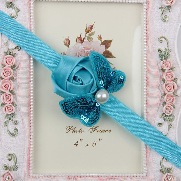 Sequin Bow with Rose Flower Headband - Blue