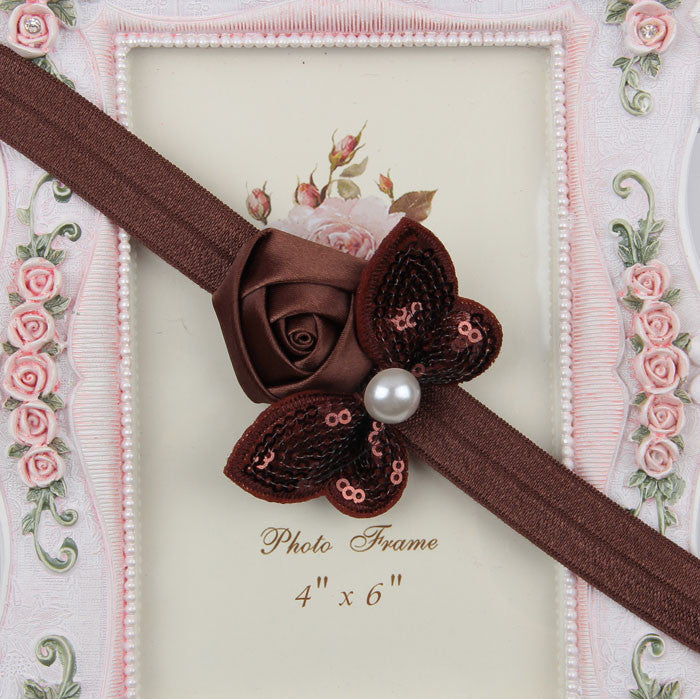 Sequin Bow with Rose Flower Headband - Brown