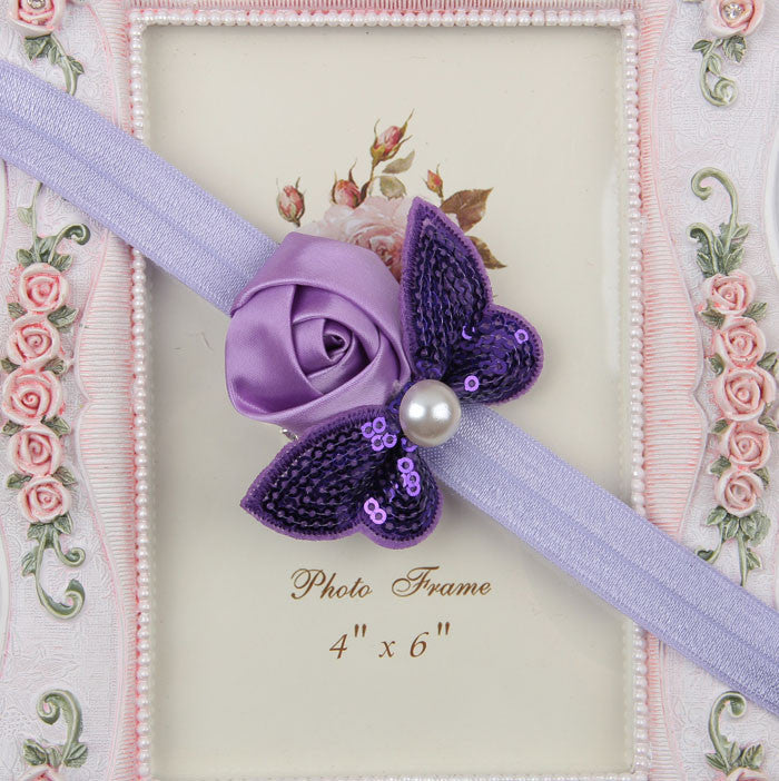 Sequin Bow with Rose Flower Headband - Lavender