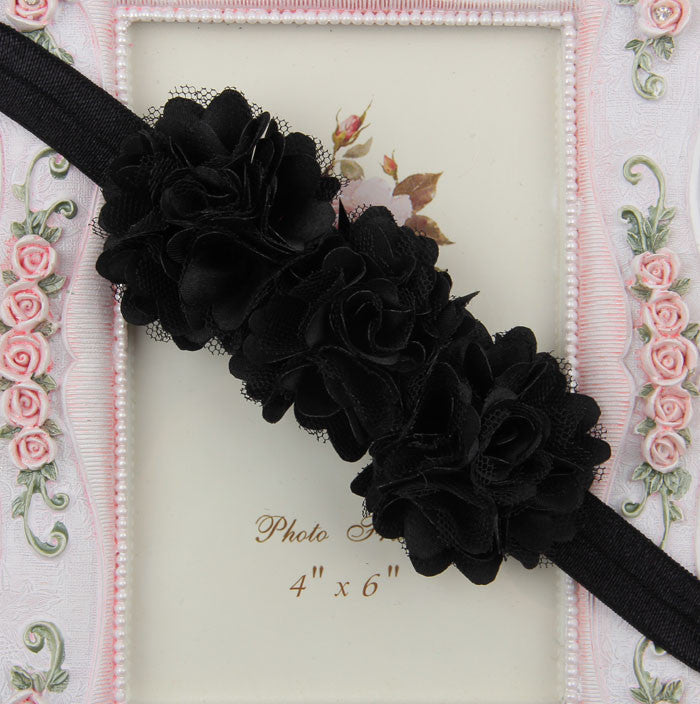 Blossom sequence baby headband - Black