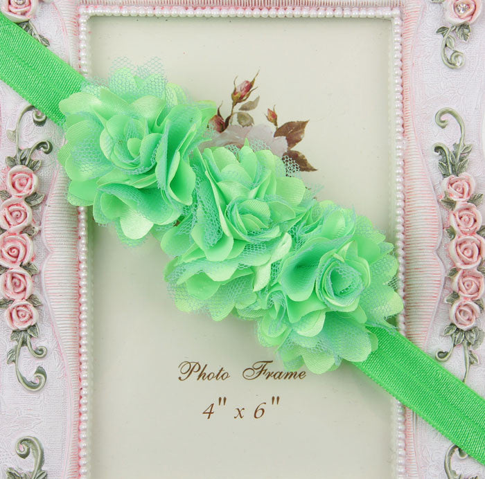 Blossom sequence baby headband - Green