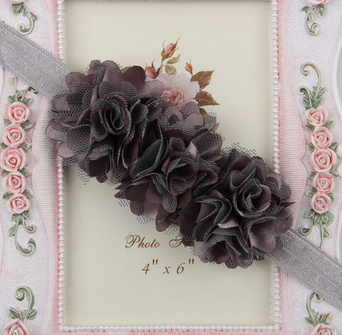 Blossom sequence baby headband - Silver Grey