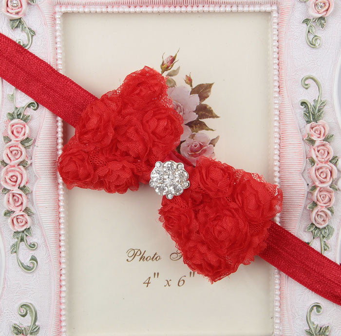 Rhinestone centre rosette bow - Red