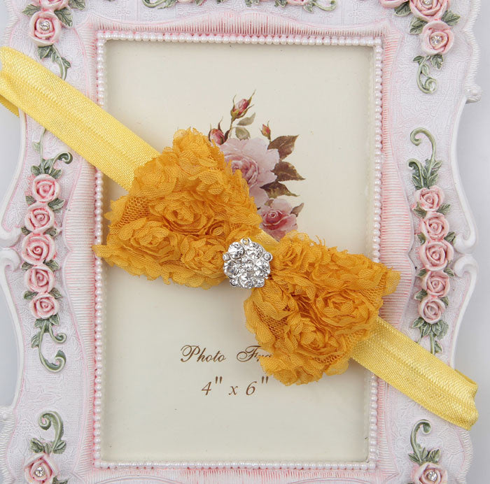Rhinestone centre rosette bow - Yellow