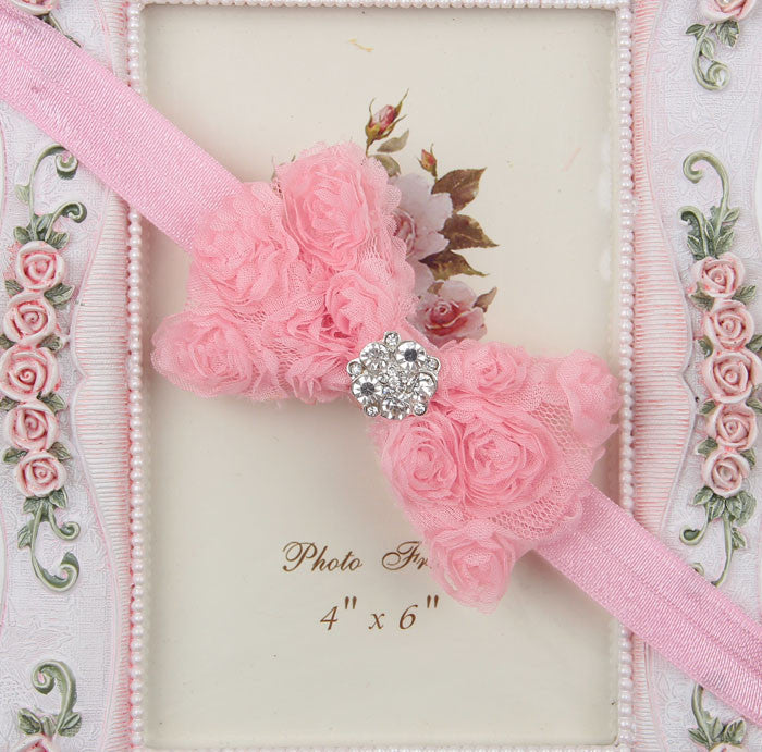 Rhinestone centre rosette bow - Baby Pink