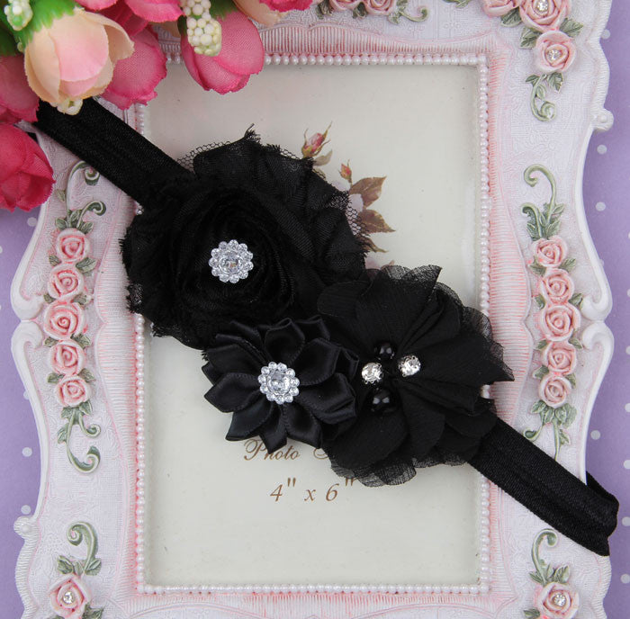 Black flower bouquet headband