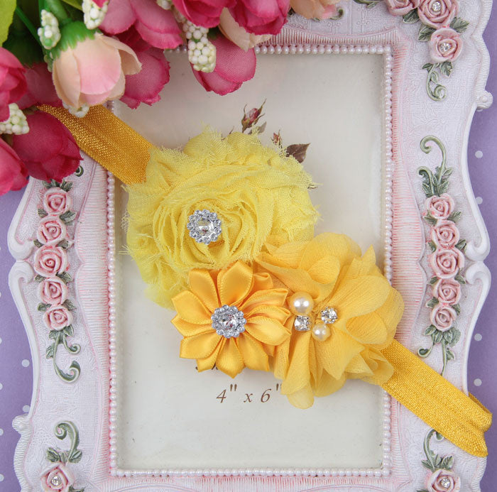 Yellow flower bouquet headband