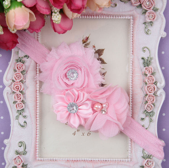 Baby Pink flower bouquet headband