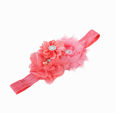 Watermelon Red flower bouquet headband