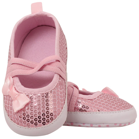 Baby pink sequinned prewalker shoes
