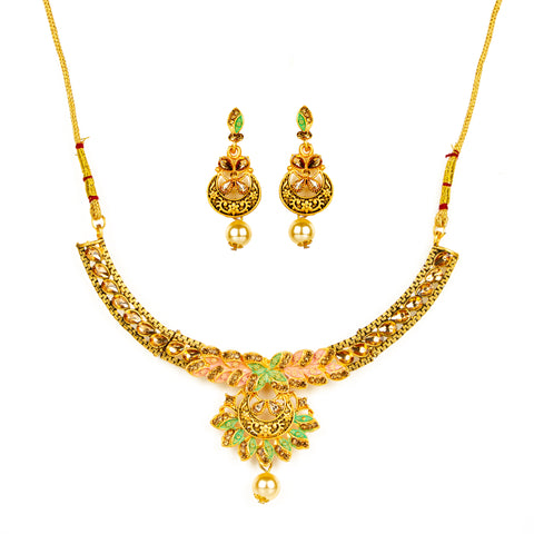 Yellow Gold Polish Necklace Set