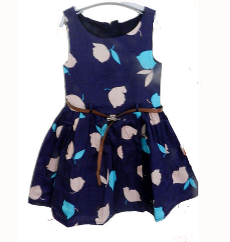 Blue Heavy Print Frock (Girls)