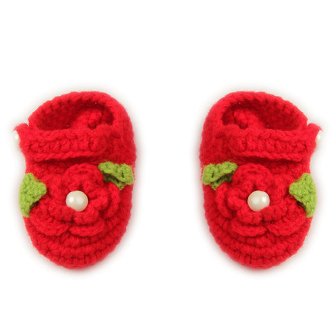 Red Crochet Baby booties (2-8 months)