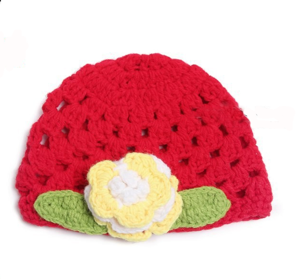 Red Crochet woollen baby cap with flower