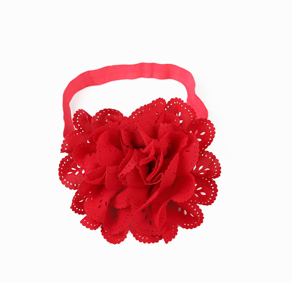 Cut Work Big Flower Headband - Red