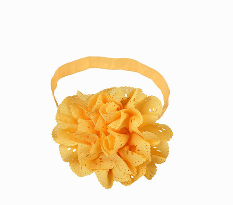 Cut Work Big Flower Headband - Yellow