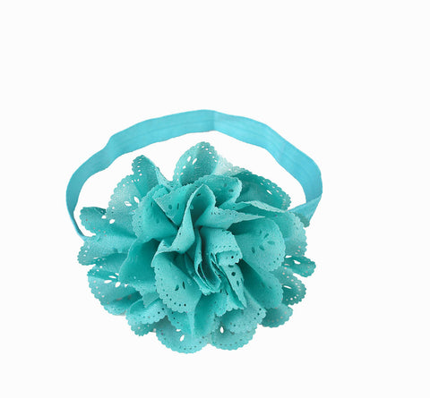 Cut Work Big Flower Headband - Teal