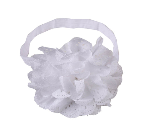 Cut Work Big Flower Headband - White