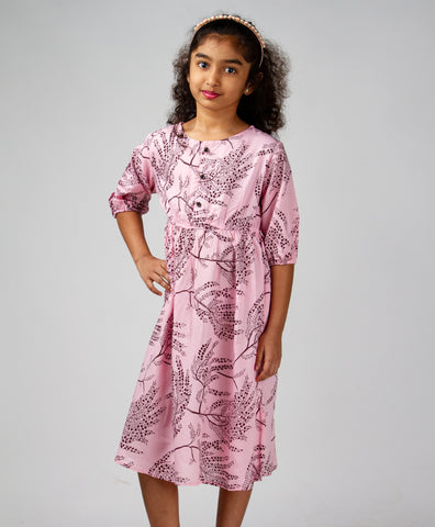Light Pink Leaf Printed Front Button Dress