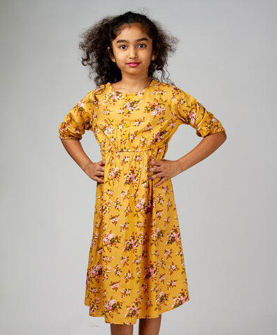 Yellow Floral Printed Front Button Dress