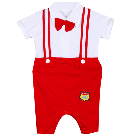 Red White Suspender Suit
