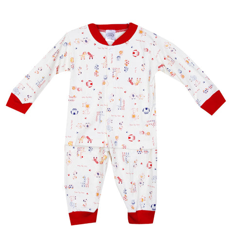 Animal Printed Night Suit - White/Red