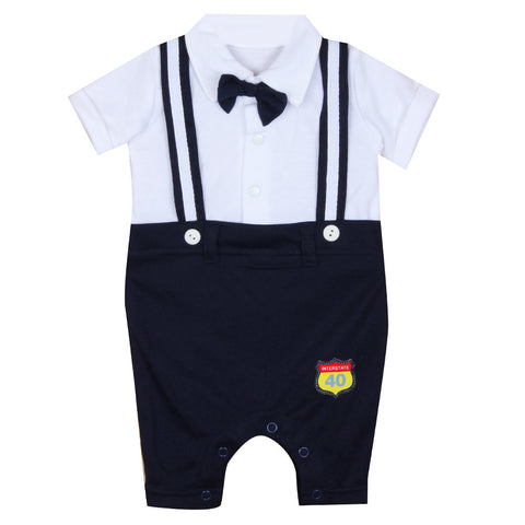 Navy White Suspender Suit