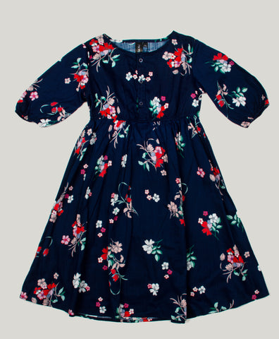 Navy Floral Printed Front Button Dress