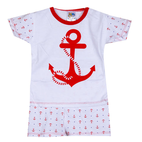 Anchor printed night suit - Red